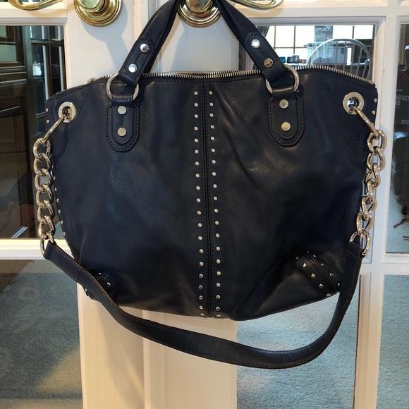 eb89a23152f5 Handbags - Michael Kors navy blue studded tote bag w  strap